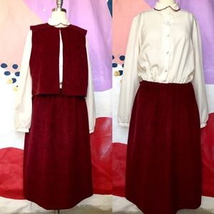 VINTAGE 70s Burgundy White Dress w/ Matching Vest